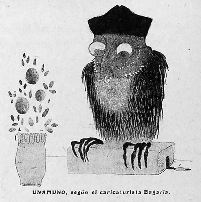 Caricatura de Miguel de Unamuno realizada por Bagaría