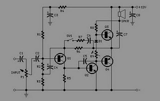 12 V AUDIO AMPLIFIER WITH TRANSISTOR ELECTRONIC DIAGRAM