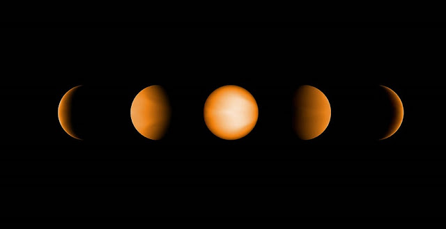 These simulated views of the ultrahot Jupiter WASP-121b show what the planet might look like to the human eye from five different vantage points, illuminated to different degrees by its parent star. The images were created using a computer simulation being used to help scientists understand the atmospheres of these ultra-hot planets. Ultrahot Jupiters reflect almost no light, rather like charcoal. However, the daysides of ultrahot Jupiters have temperatures of between 3600°F and 5400°F (2000°C and 3000°C), so the planets produce their own glow, like a hot ember. The orange color in this simulated image is thus from the planet's own heat. The computer model was based on observations of WASP-121b conducted using NASA's Spitzer and Hubble space telescopes. Credits: NASA/JPL-Caltech/Vivien Parmentier/Aix-Marseille University (AMU)