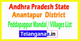 Peddapappur Mandal Villages Codes Anantapur District Andhra Pradesh State India