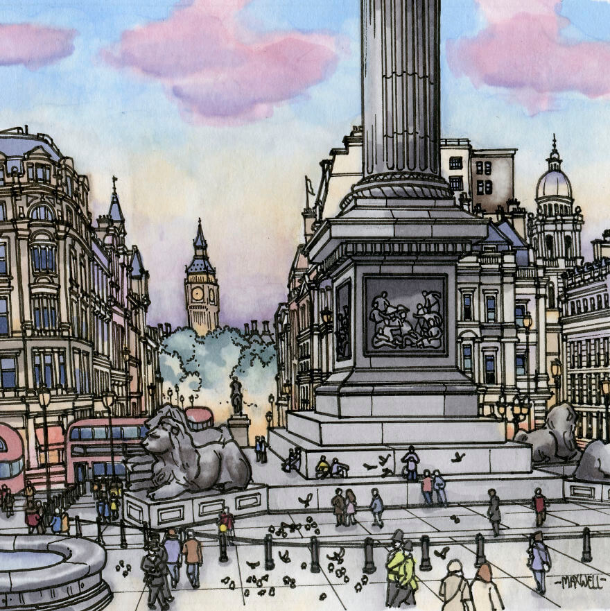 13 Artistic Illustrations Of Famous Places Around The World - London, United Kingdom