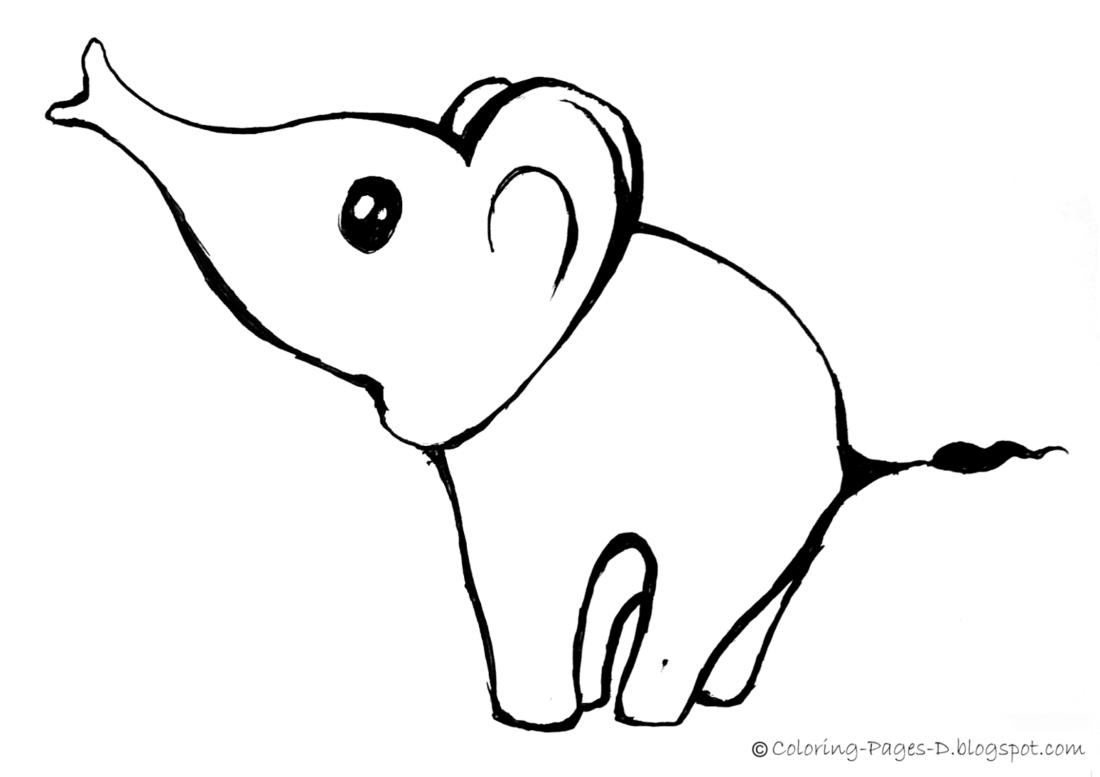 coloring pages D Free Elephant