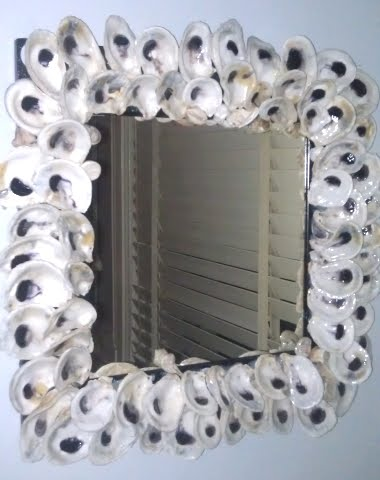 decorate mirror frame with oyster shells