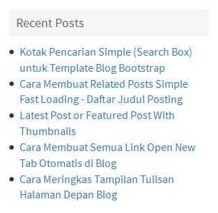 Daftar Posting Terbaru (Recent Post)