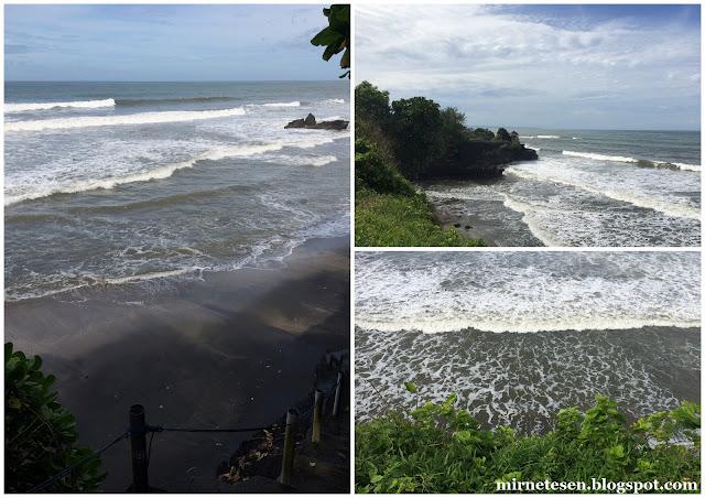 Черный пляж недалеко от храма Танах-Лот, Бали