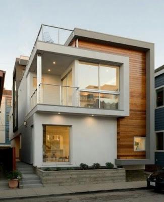 ide Tampak Depan Rumah Minimalis simpel 2 Lantai