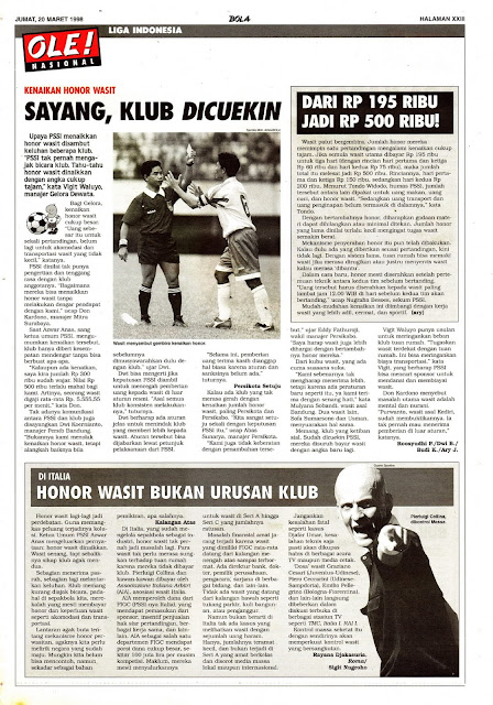 LIGA INDONESIA 1998 KENAIKAN HONOR WASIT