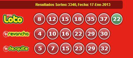 Resultados Loto Sorteo 3340 Fecha 17/01/2013