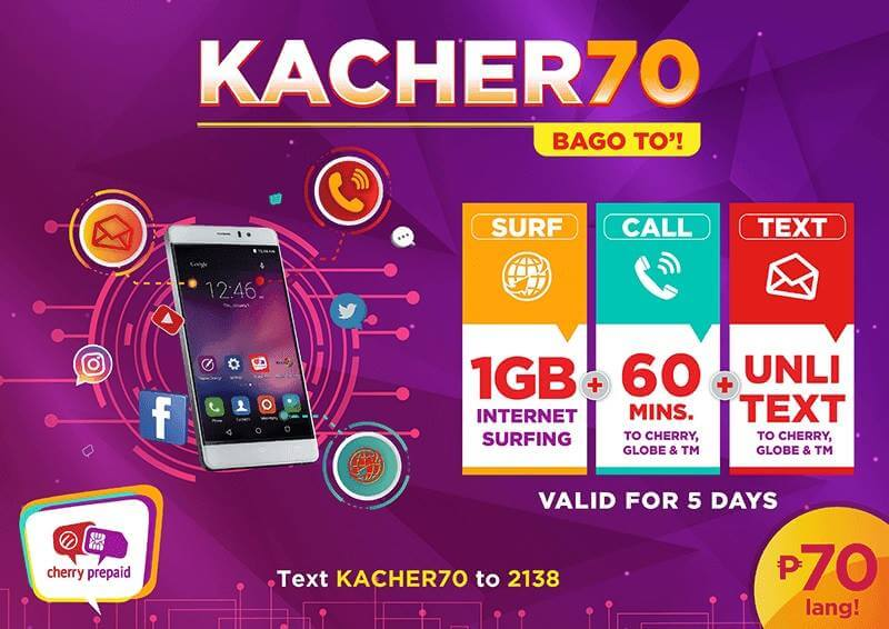Cherry Prepaid Launches KACHER70; Tri-Net Data Combo Valid for 5 Days