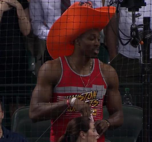 Dwight Howard cowboy hat Astros. Houston Rockets center Dwight Howard wore  a giant foam ... b84b236300dc
