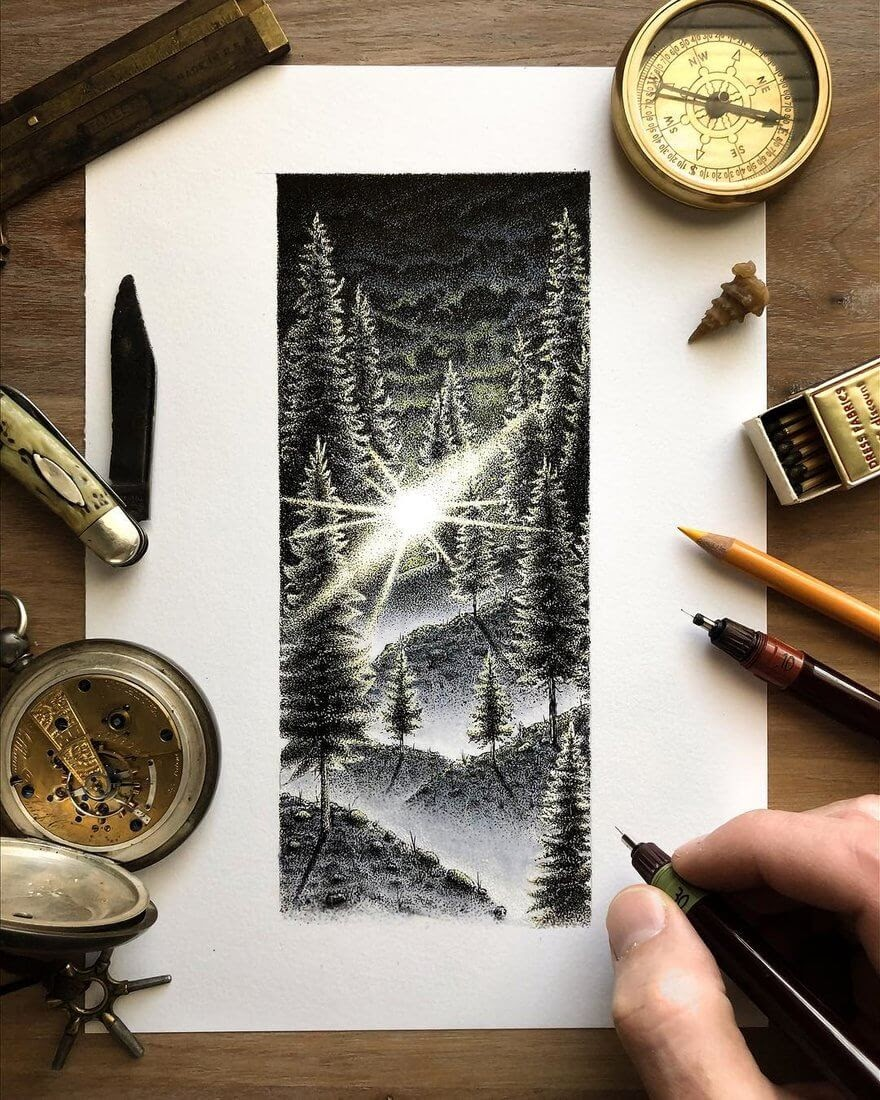 05-Sunset-in-the-forest-Nicholas-Baker-Stippling-Black-and-White-Drawings-www-designstack-co