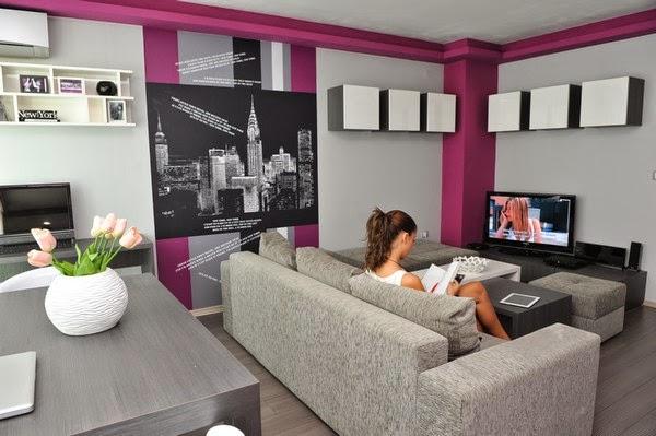 Warna Cat Ruang Tamu Rumah Minimalis Kombinasi Ungu Putih Abu