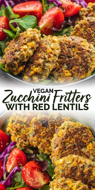 Zucchini Fritters With Red Lentils