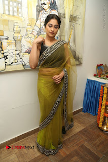 Actress Regina Stills in Green Saree at Vivaha Bhojanambu Restaurant Launch  0174.JPG