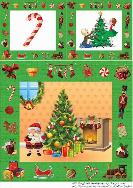 English children christmas flashcards