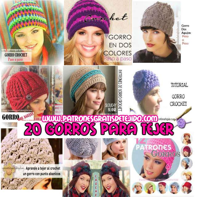 20 Gorros para tejer en crochet y dos agujas / Patrones y tutoriales ...