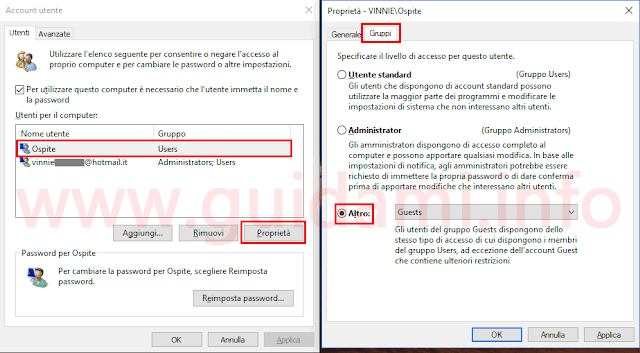 Windows 10 impostare account Guest Ospite
