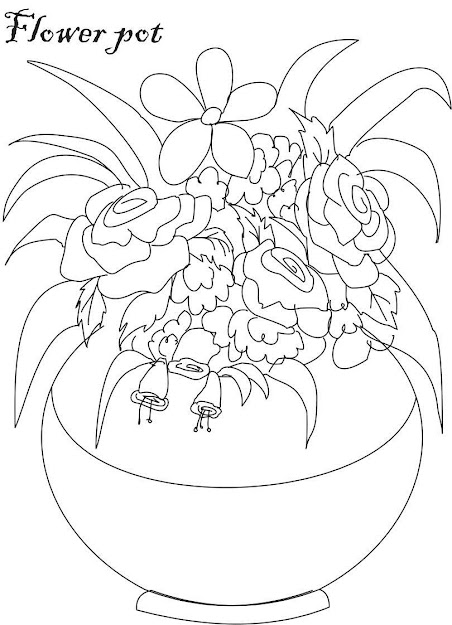 Flower Pot Coloring Page Sketch Template