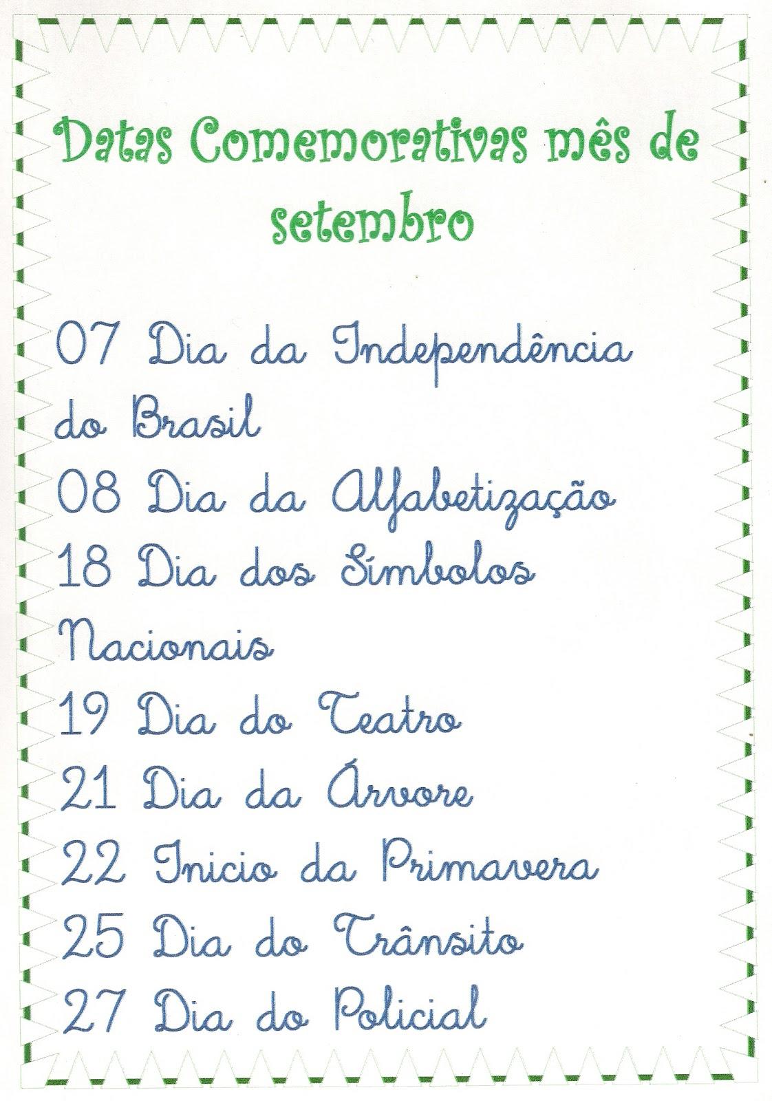 Calendario De Datas Comemorativas Mes De Setembro