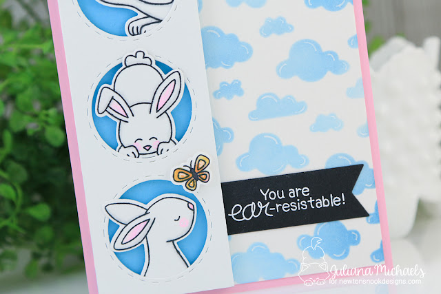 Bunny Ear Resistable Card by Juliana Michaels featuring Newton's Nook Designs Bitty Bunnies Stamp Set and Cloudy Sky Stencil