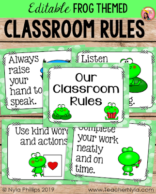Frog themed Classroom Rule Posters