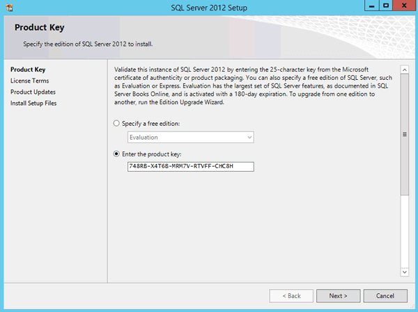 enter SQL Server 2012 product key