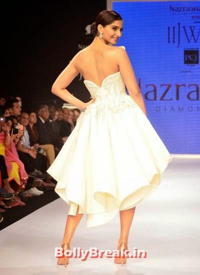 Sonam Kapoor walks the ramp for Rio Tinto's Nazraana, Sonam Kapoor Pics in White Gown Dress at IIJW Fashion Show 2014