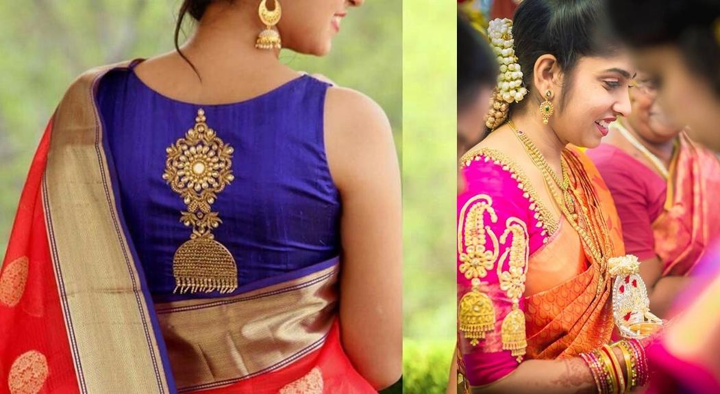 6661e4a1a4ecc2  17 Classic Long Puff Sleeves pattu saree blouse designs