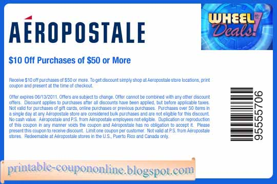 Coupon policy: Aeropostale only accepts one coupon code per order, though coupon codes can sometimes be used in conjunction with sale offers and free shipping. Note that some discounts are tiered and only apply if you spend a certain amount.