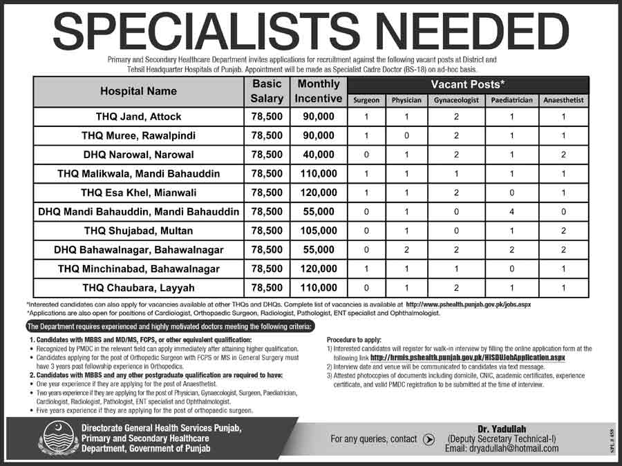 53+ Medical Specialist jobs across Punjab in Multiple Cities