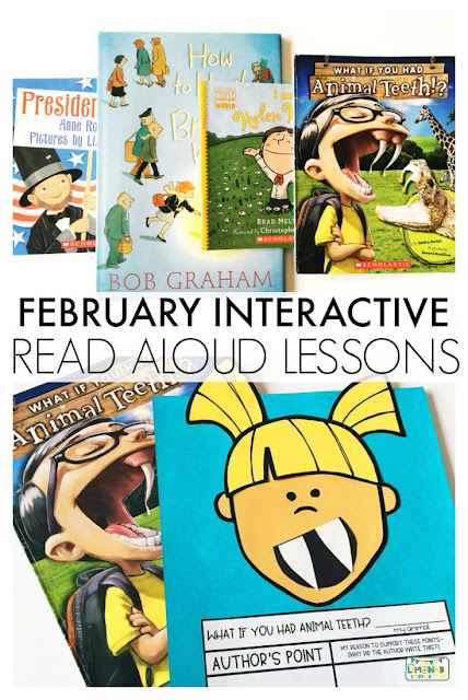 Interactive Read Aloud Lessons for First Grade | Each set of read aloud plans include anchor charts, posters, a daily lesson plan, assessing and advancing questions for partner talk and reading response, vocabulary, mentor sentences, speaking and listening checklists, vocabulary acquisition checklists, and daily and culminating task journal printables, as well as crafts and directed drawing. Get ready for an engaging interactive read aloud!  What If You Had Animal Teeth, Presidents' Day, How to Heal a Broken Wing, I Am Helen Keller