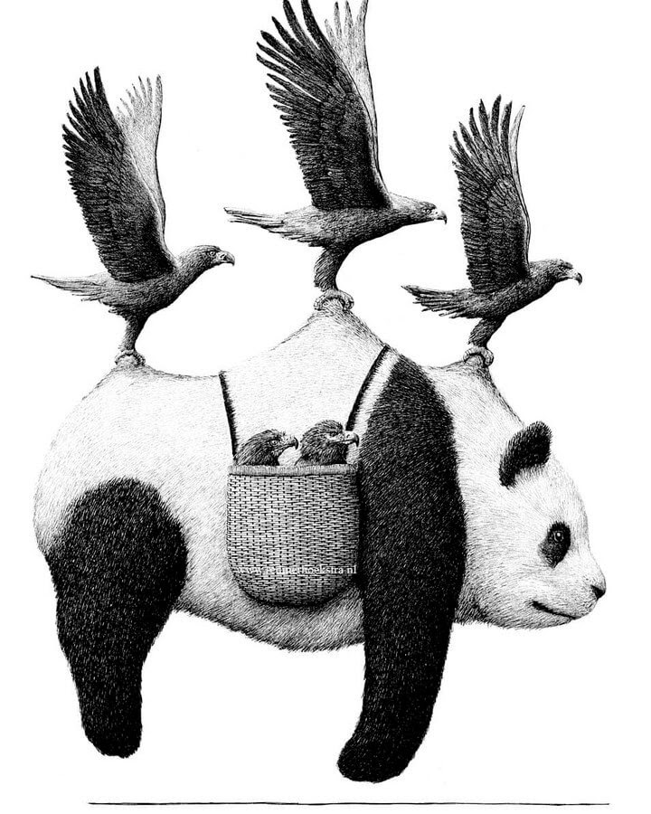 05-Eagles and Panda-Redmer-Hoekstra-Surrealism-www-designstack-co