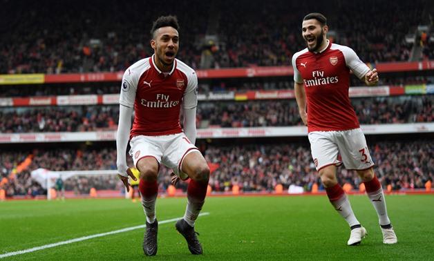 Aubameyang Celebrates arsenal Goal