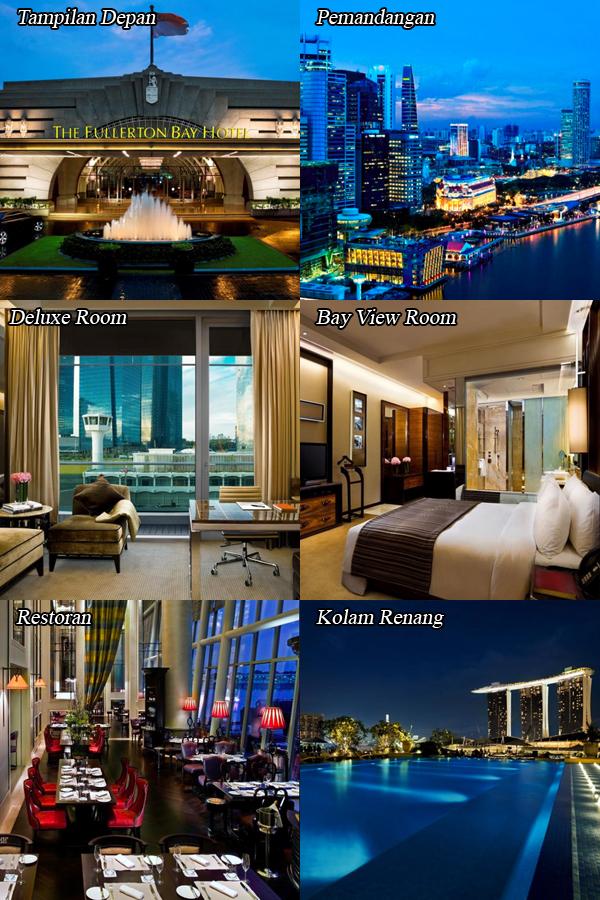 Ini adalah foto atau gambar dari The Fullerton Bay Hotel Singapore mulai dari tampak depannya, pemandangan sekitar, kamar Deluxe, kamar Bay View, restoran serta kolam renang atas atap.