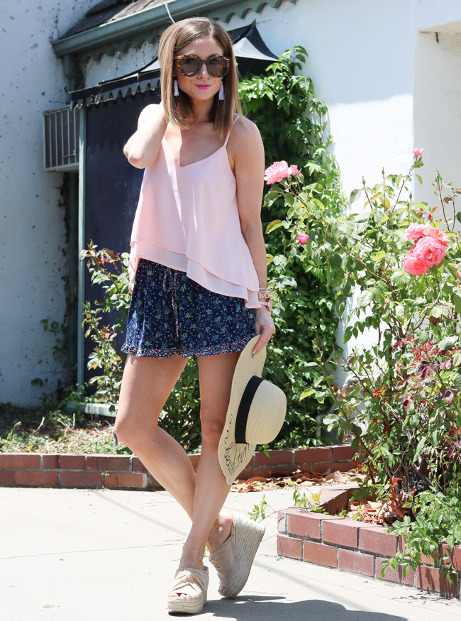 tassel earrings with pink cami and floral shorts