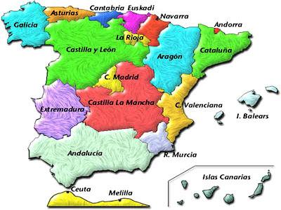 Resultado de imagen de mapa de españa comunidades