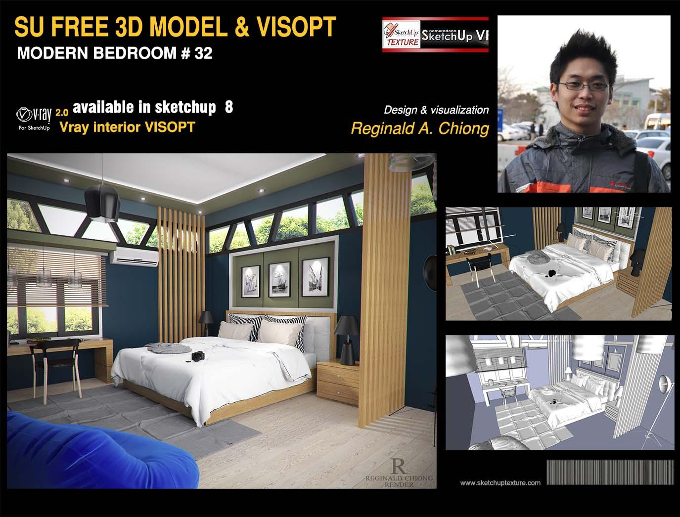Download here 3d sketchup model modern bedroom