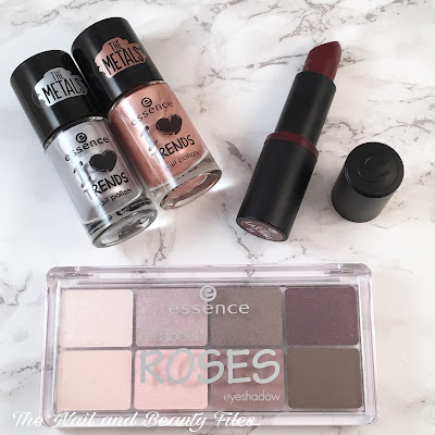 Essence Cosmetics, All About Roses Eyeshadow, Long Lasting Lipstick, The Metals Nail Polish