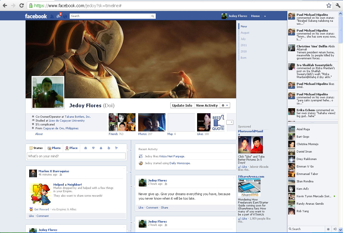 And This Will Be The Sample View Of Your Facebook Timeline: