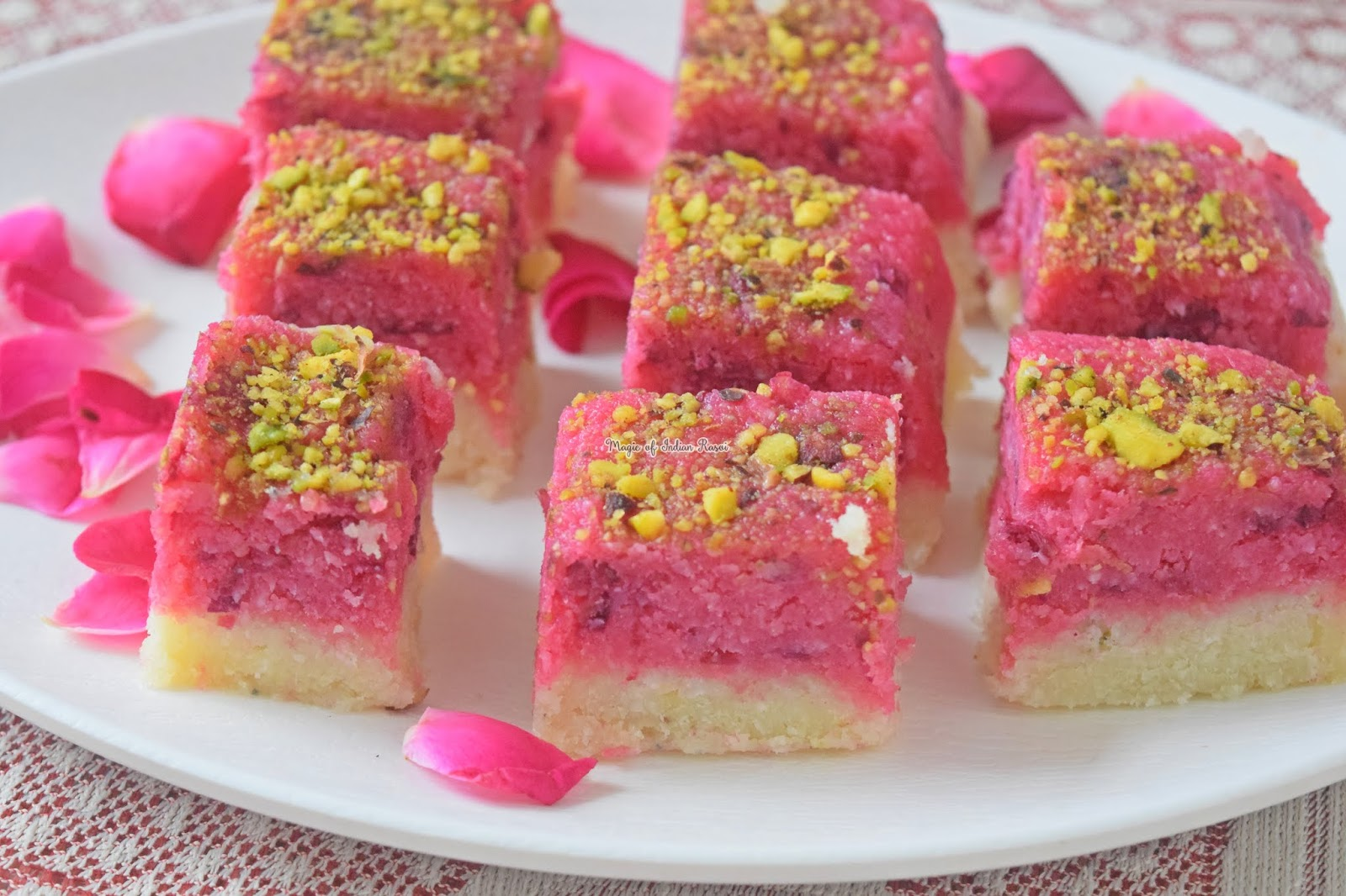 Rose Coconut Barfi - Gulab Kopra Pak Recipe 1