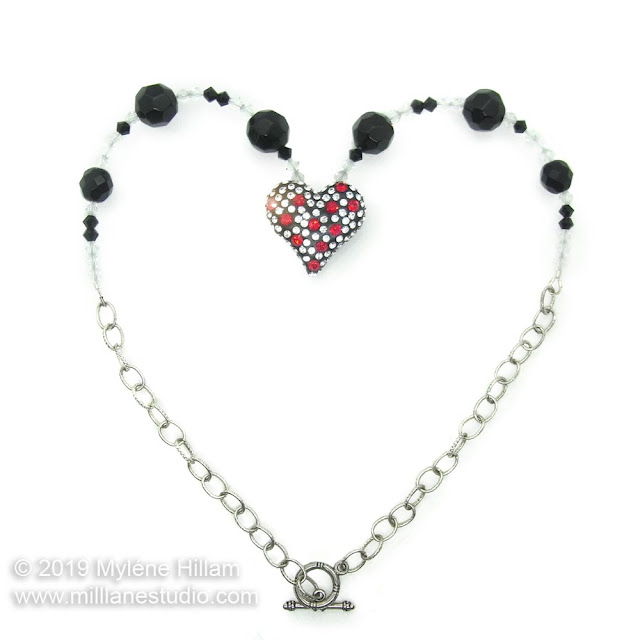 Crystal-studded Epoxy Resin Clay Heart Necklace
