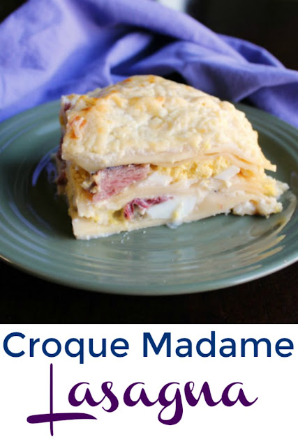 Croque madame inspired lasagna is perfect for breakfast, brunch or dinner. Bonus: it's also a great way to use leftover ham and hard boiled eggs from Easter!