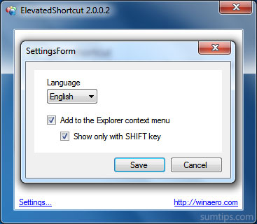 ElevatedShortcut context option