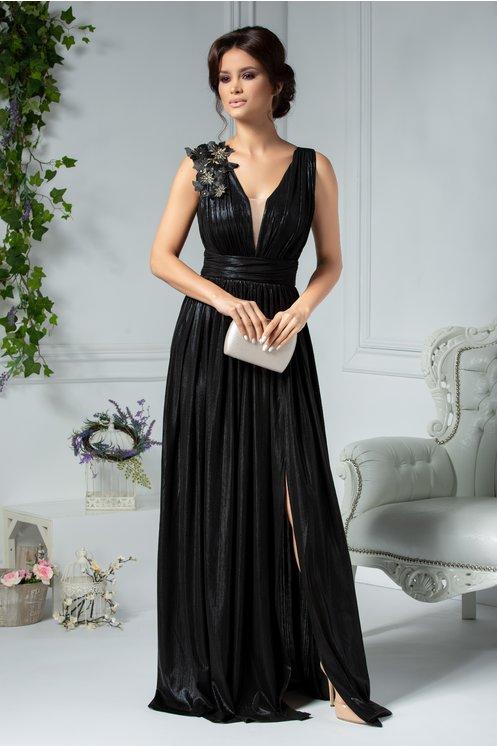 Rochie eleganta lunga de seara negru metalizat fara maneci