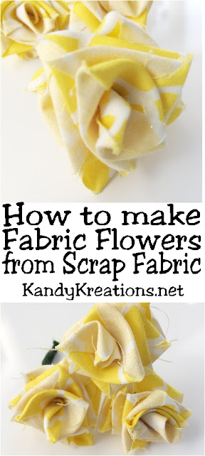 Can't find the flowers you need in your party colors? Make your own fabric flowers in a few easy steps out of scrap fabric you already have at home. These fabric roses are great as Beauty and the Beast roses, Bachlorette partyroses, or as the yellow rose of Texas for your Cowgirl party. The possibilities are endless!