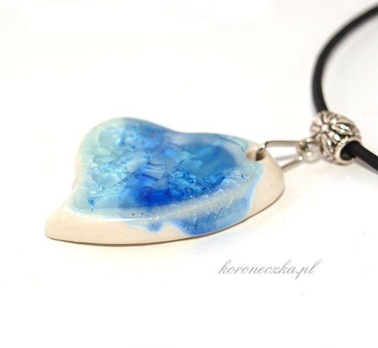 Serduszko niebieskie z porcelany