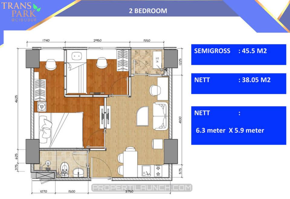 Apartemen Trans Park Cibubur tipe 2 bedroom