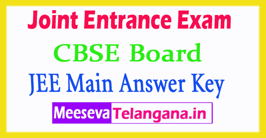Joint Entrance Exam JEE Main Answer Key 2018