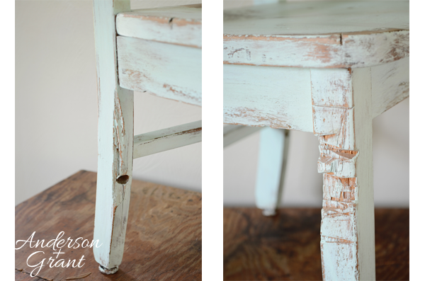 Legs on hand painted and distressed kid's chair from www.andersonandgrant.com