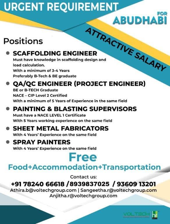 Urgent requirement for Abu Dhabi